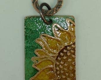 Etched Copper & Faux Enamel Pendant