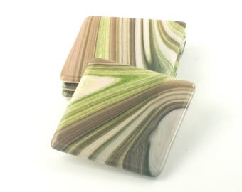 Green and Brown Table Coasters for Drinks, Set of 4, Fused Glass, Modern Home Accent Pieces, Bar Decorations, Unique Xmas Gift for Friends