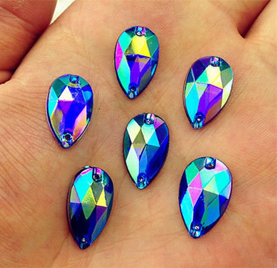 50pcs Royal Blue AB 18mm*11mm Flat Back Tear Drop Sew On Acrylic Rhinestones Embellishment Gems C02