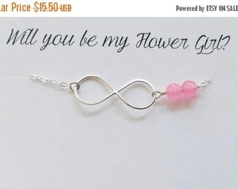 ON-SALE Girl Size - Pink Gemstone and Infinity Bracelet - Flower Girl Necklace, Girl Jewelry, Wedding Gift, Birthday Gift, Best-friend Gift