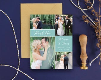 Photo Thank You Card Printable - Modern Wedding Thank You Card - Thank You Wedding Printable Thank You Card