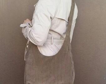 ON SALE Casual Sling Handbag in Beige Soft Velvet - crossbody purse for her - school cute bag - gift for teens - marion
