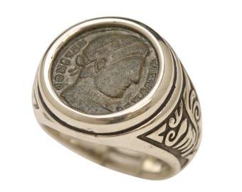 Men's coin ring, antique signet ring, men's signet ring, large men's ring, men's Christian ring, ancient coin ring