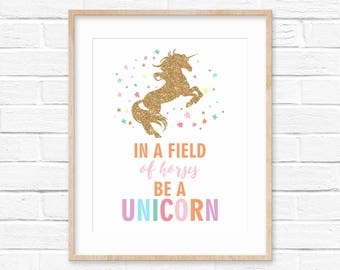 Unicorn Art Print / Unicorn Birthday / Unicorn Party Decorations / Inspirational Quote / Nursery Wall Art / Girl's Room Art / Nursery Decor
