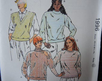 Vintage 1990s Kwik Sew sewing pattern 1996 misses pullover sweater or vest UNCUT sizes XS-XL