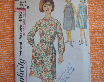 vintage 1960s simplicity sewing pattern 5213 misses dress and sleeveless dress or jumper size 10-12