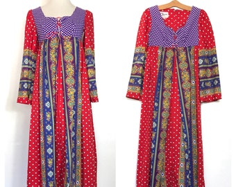 Real Vintage Hippie Dress Empire Waist Dress Festival 60s 70s Dress Boho Dress renaissance Polka Dot Vintage Maxi Dress Patch Work Flower G2
