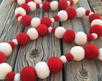 Christmas Felt Ball Garland, Pom Pom Garland, Nursery Decor, Bunting Banner, Party Decor