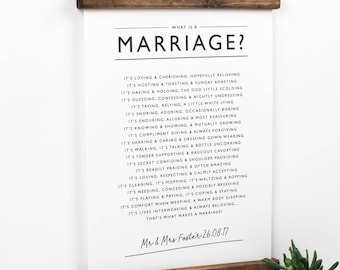 What is A Marriage? Poem - Wedding Present - Wedding Gift - Anniversary Gift - Personalised Wedding Poem -Paper Anniversary -Wedding Reading
