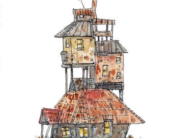 Weasley House of my original illustration Harry Potter Watercolor Ron Hermionie Granger Hogwarts Burrow Wands Fantastic Beasts painting