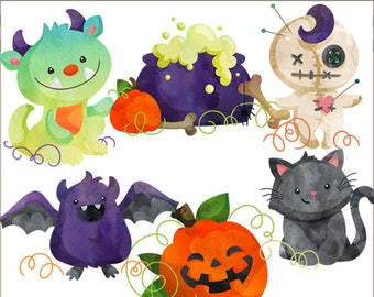 Watercolor Halloween Clipart -Personal and Limited Commercial Use- cute bat, monster, voodoo doll, pumpkin, cat, and cauldron Clip Art