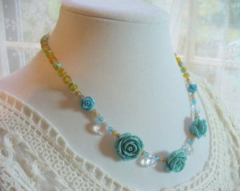 Blue Rose Necklace, Statement Necklace, Blue Beaded Necklace, Weddings, Womens Jewelry, Tan and Blue, Silver, Birthday Gift, Blue Cabochon