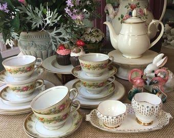 Enchanting Complete Tea Set for 4 Altce in Wonderland Tea Set Mismatched Tea Set 6 Tea cups and Saucers Instant Tea Party