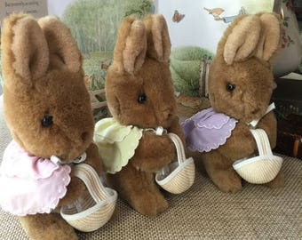 Rare Set of Beatrix Potter Flopsy Bunnies Flopsy Mipsy Cottontail Eden Plush for Frederick Warne vintage 1980s Peter Rabbit