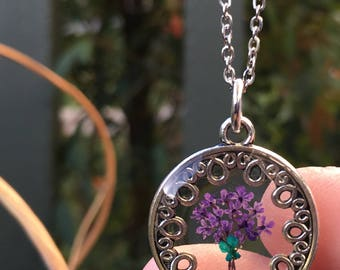 Handmade Romantic Bouquet Pressed Lila and Turquoise Queen Anne's Lace Flower Resin Pendant Necklace Stainless Steel Chain.