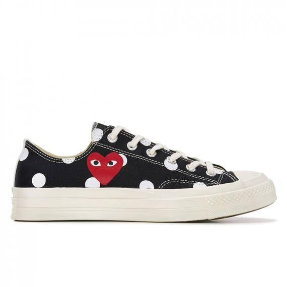 Black Converse comme des garcons Play Low Top Dot Lady Mens w/ Swarovski Crystal Rhinestone Chuck Taylor All Star Sneakers Trainer Shoes