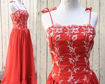 Vintage Embroidered Red Gown