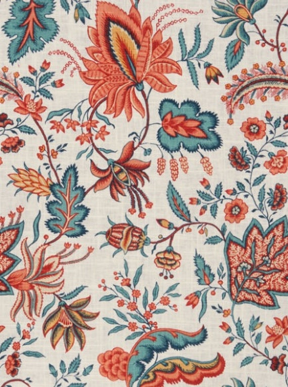 vintage home decor fabric teal floral home decor fabric blue floral upholstery 11797