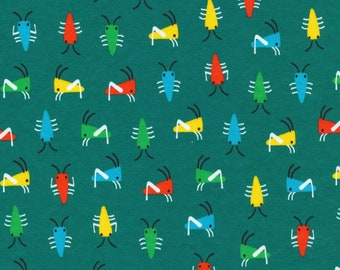 Bug's Life Green / Sidewalk - Organic Cotton Interlock Knit by Rae Hoekstra for Cloud9 Fabrics