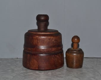 Primitive Wood Butter Mold Set of 2 ~ Wheat Butter Press ~ Farmhouse Kitchen ~ Rustic Decor ~ Epsteam