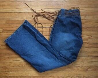 Vintage l.e.i. Life Energy Intelligence Bell Bottom Leather Fringe Tie Waist Denim Jeans