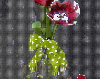 Needlepoint Kit or Canvas: Vase Bow Flowers