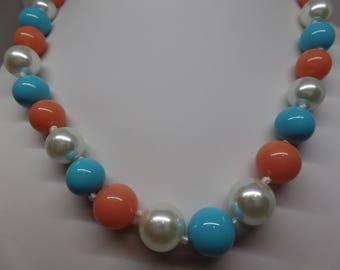 NOLAN MILLER Faux Turquoise, Coral and Pearl Necklace