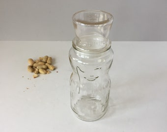 Mr Peanut 75th Birthday, 1991 Planters Peanuts Jar, Vintage Glass Canister, Kitchen Storage, Adverising Collectible