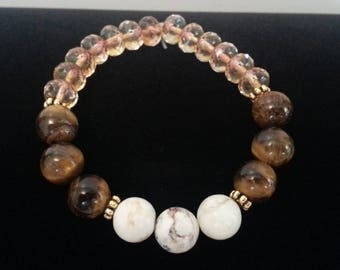 White Howlite Tiger Eye and Champagne Faceted Beads Stretch Bracelet