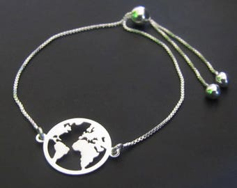 World Bracelet, World Map Bracelet, Sterling Silver Bracelet, Globetrotter Bracelet, Traveler Bracelet, Adjustable Bracelet, Gift for Her