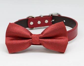 Red dog Bow tie Collar, Pet Wedding, Puppy Love, Handmade, Valentines Gifts