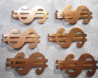 6 Coppercoated  Dollar Sign Money Clips