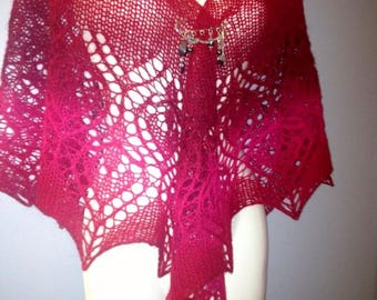 hand knitted red wool shawl