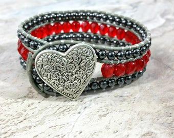 Heart Bracelet, Leather Wrap Bracelet, Boho Cuff, Heart, Beaded Cuff, Gypsy Bracelet, Beaded Leather Wrap, Gypsy, Gift for Her, Birthday