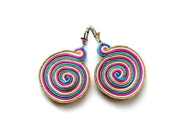 Earrings-soutache-boho-ethnic-OOAK Snail