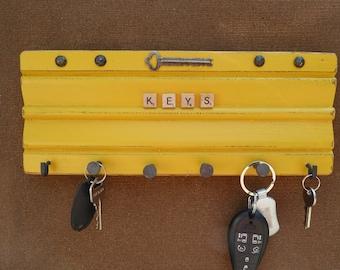 Architectural Salvaged Wood Key Rack Distressed Industrial Vintage Hardware