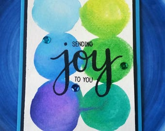 Sending Joy to you watercolor greeting card, heat embossed, glossy lettering, handmade