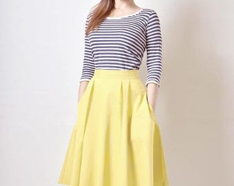 AUGUST 20 % OFF Yellow Skirt, Midi skirt, Flared Skirt, Cotton Sateen Skirt with Pockets