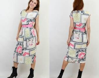 Vintage Floral Dress / Summer Dress / Midi Dress / Sleeveless Dress / Belted Dress / Day Dress /Vintage Dress /Electric Blue Made in England