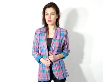 SALE Vintage Sarju Plaid Blazer Size S