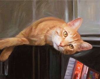 Cat Lover Gift - Custom Cat Portrait - Custom Pet Painting - Personalized Oil Painting on Canvas from Photo
