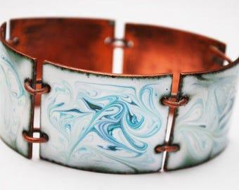 Copper Enamel Panel Bracelet - Blue green  white marble enameling - Chunky Boho Link Bangle