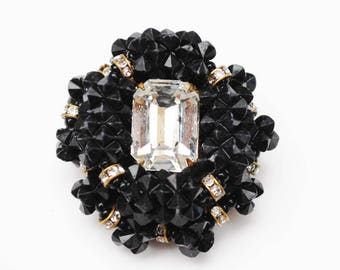 Miriam Haskell Brooch - Black  Beaded - Crystal  Rhinestone -Rondelle beads layerd vintage pin