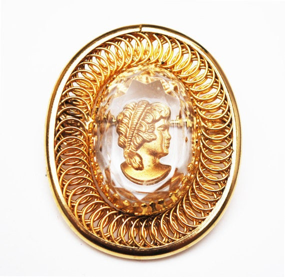 intaglio cameo Brooch - reversed Carved - Roman bust with Gold plated twisted Coil  wire - Crystal pin