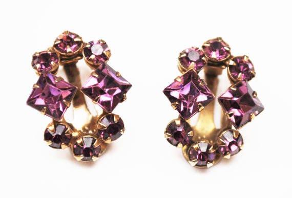 Purple Rhinestone  earrings  - gold tone-  mid century - clip on earrings  -Gift for her