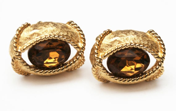 Topaz Glass Gold Cuff links - Facet cut crystal - Amber brown - Cufflinks