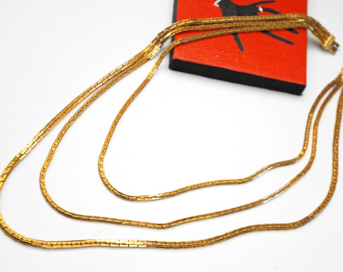multi gold chain Necklace - Signed Vendome - thriple chains -three box links