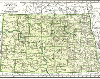 Vintage North Dakota Etsy - State map of north dakota