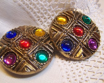 "2 Pretty Vintage 1-1/2"" Button Covers Brass Tone with Multi-Colored Jewel Centers (Place over buttons on blouse)"