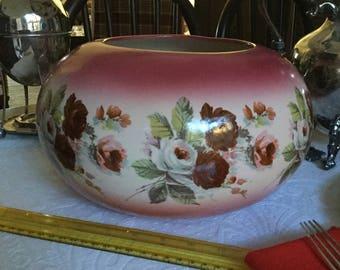 Beautiful M Biggs 1972-Large Pink/White-Burgundy Roses Vase/Planter